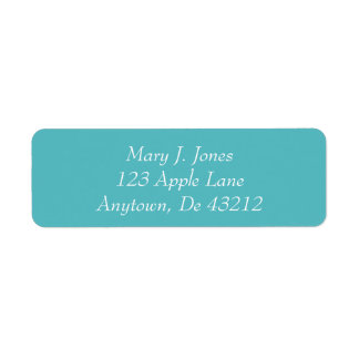 White Text On Teal Return Address Label
