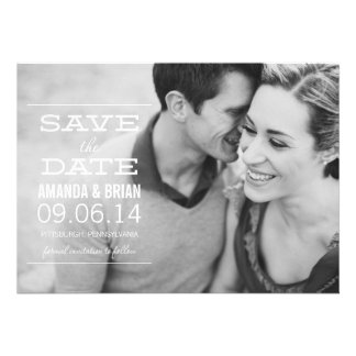 White Text Photo Save the Date Announcement Custom Invitations