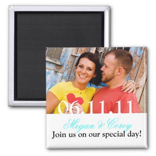 White Text: Save the Date Square Magnet