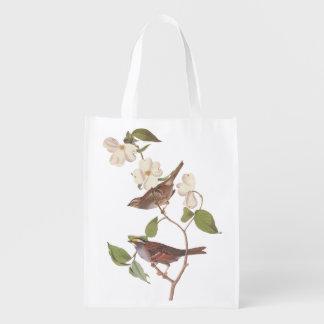 White-Throated Sparrow Audubon Bird in Dogwood Reusable Grocery Bag