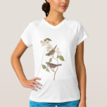 White Throated Sparrow Audubon Birds with Flowers T-shirt