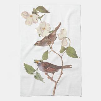 White Throated Sparrow Audubon Birds with Flowers Tea Towel