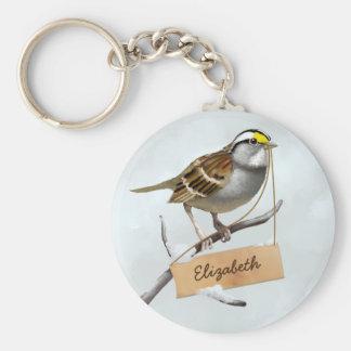 White throated sparrow Custom Name Basic Round Button Key Ring