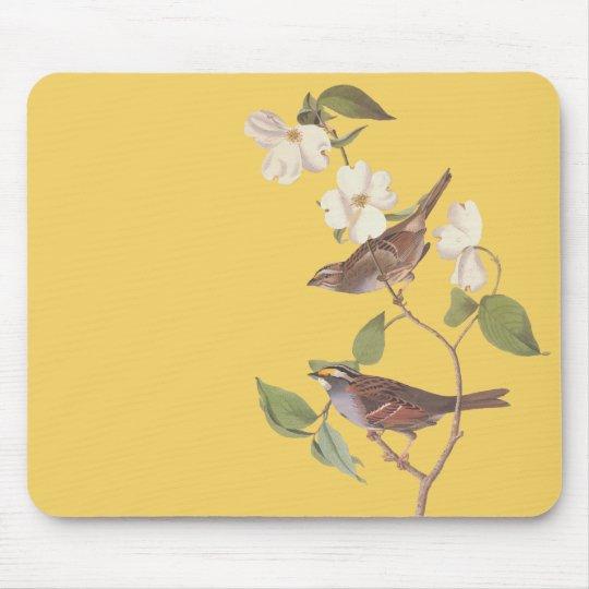 White Throated Sparrow Vintage Audubon Art Mouse Mat