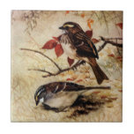 White-Throated Sparrows and Fall Leaves Small Square Tile