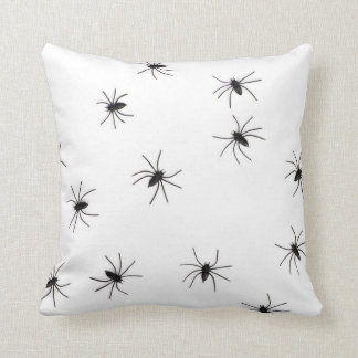 White Throw Pillow with Spiders
