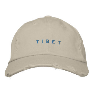 White Tibet Embroidered Distressed Chino Twill Cap Baseball Cap