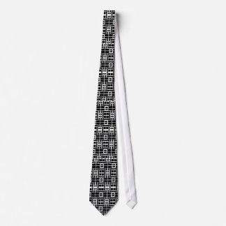 White Tie w/ Black Squares and Rectangles Pattern