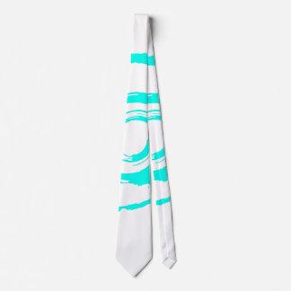 White Tie with Big Cyan Twirl