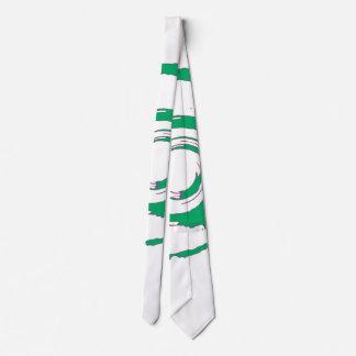 White Tie with Big Green Twirl