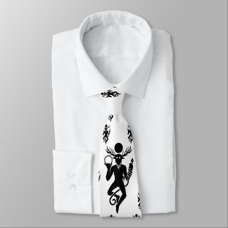White tie with Cernunnos pattern