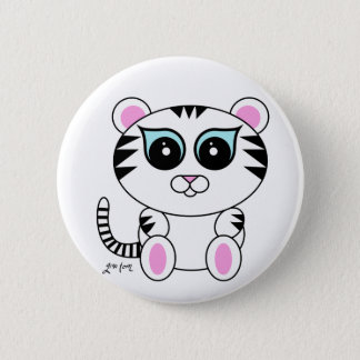 White Tiger 6 Cm Round Badge