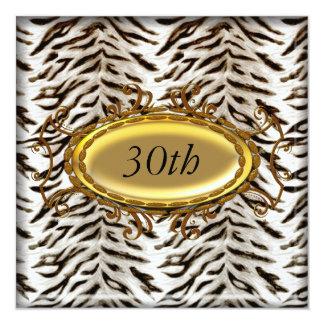 "White Tiger and Gold Birthday Party Invitation 5.25"" Square Invitation Card"
