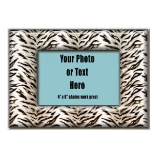 White Tiger Animal Print Frame Personalized Announcement