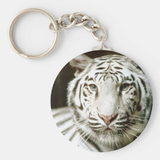 White Tiger Basic Round Button Key Ring