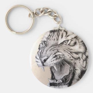 white tiger basic round button key ring