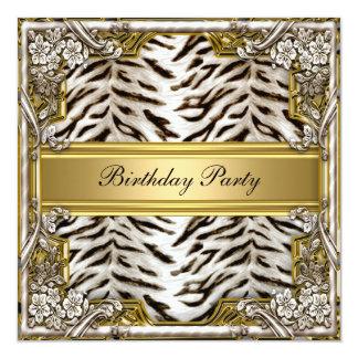 """White Tiger Birthday Party Invitation 5.25"""" Square Invitation Card"""