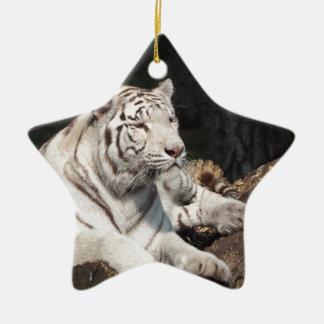 White Tiger Ceramic Star Decoration