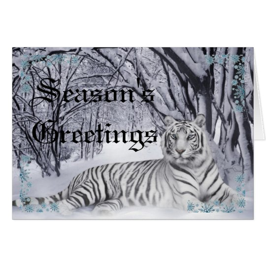 White Tiger Christmas Card