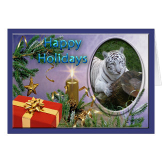 White Tiger Christmas Greeting Card