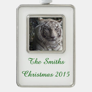 White Tiger Close-up Silver Plated Framed Ornament