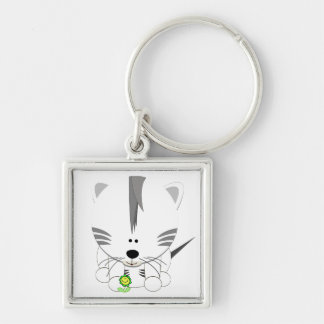 White Tiger Cub Key Ring Key Chain