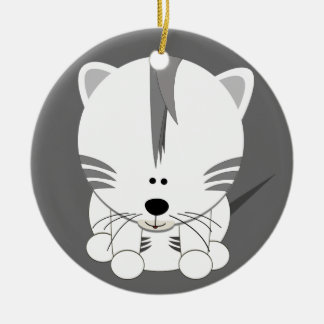 White Tiger Cub Round Ornament