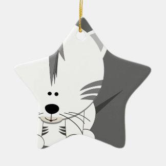 White Tiger Cub Star Ornament