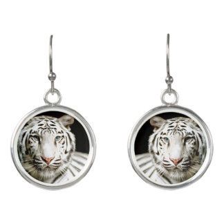 """White Tiger"" Drop Earrings"