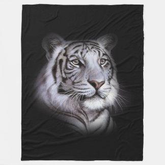 White Tiger Face Fleece Blanket