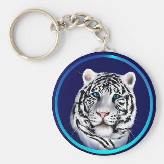 White Tiger Face Keychain