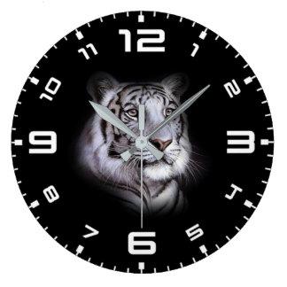 White Tiger Face Large Clock