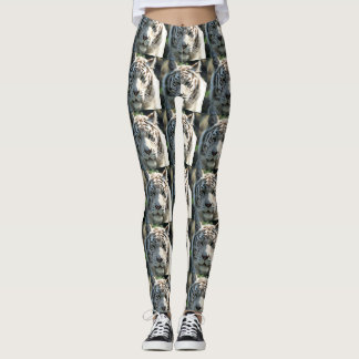 White Tiger Face Leggings