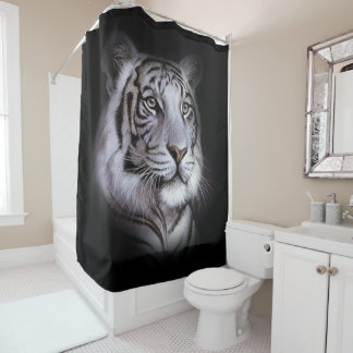 White Tiger Face Shower Curtain