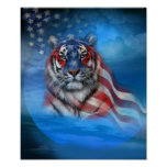 White Tiger Flag Art Poster/Print