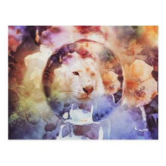White Tiger Floral Bubble Grunge Postcard