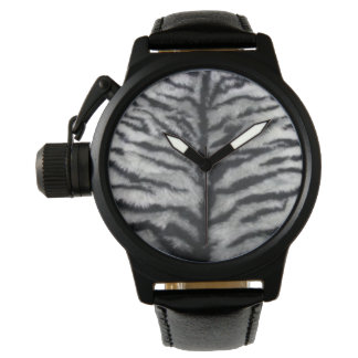White Tiger Fur Black Leather Watch