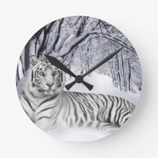 white+tiger+gifts round clock