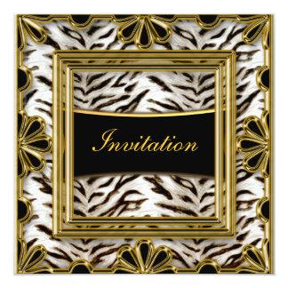 "White Tiger Gold Black Birthday frame gold 5.25"" Square Invitation Card"