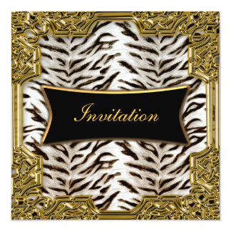 """White Tiger Gold Black Birthday Party Invitation 5.25"""" Square Invitation Card"""