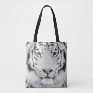 White Tiger Head All-Over-Print Tote Bag