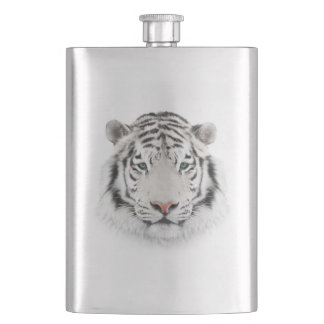 White Tiger Head Classic Flask