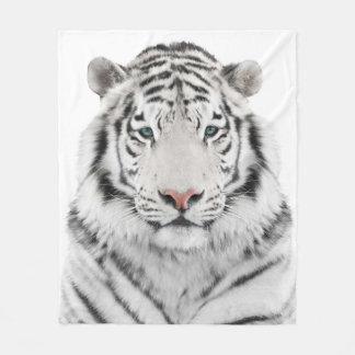 White Tiger Head Fleece Blanket