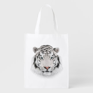 White Tiger Head Reusable Grocery Bag