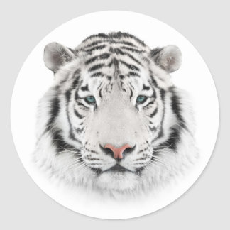 White Tiger Head Round Stickers