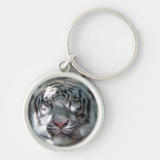 White Tiger Head Silver-Colored Round Key Ring