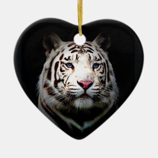 White Tiger Heart Ceramic Heart Decoration