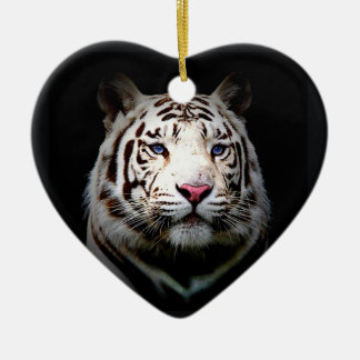 White Tiger Heart Christmas Ornament