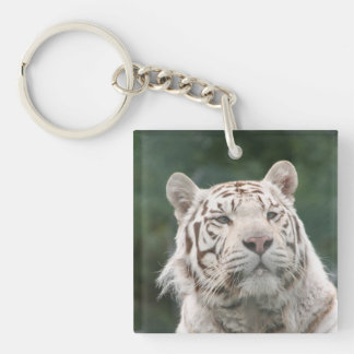 WHITE TIGER Single-Sided SQUARE ACRYLIC KEY RING