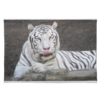 White Tiger Licking Lips - Mm-mm Good Place Mat